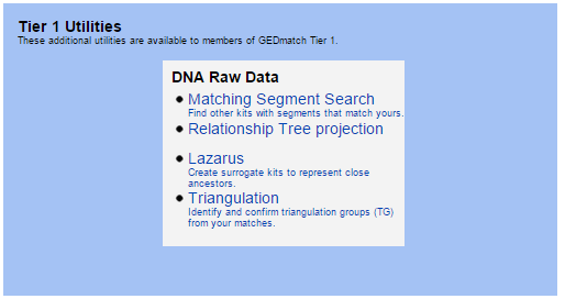 Tier 1 GEDmatch Tools